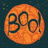 Boo Halloween poster with black lettering Royalty Free Stock Image