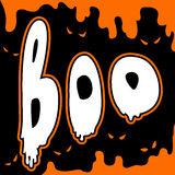 Boo happy halloween card comic style Stock Image