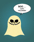 Boo Happy Halloween. Ghost of pop art and bubble. Pretty good gh Stock Image