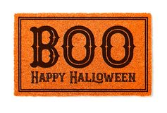 Boo, Happy Halloween Orange Welcome Mat Isolated on White Background royalty free stock photography