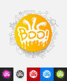 Boo paper sticker with hand drawn elements Stock Photography