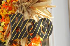 Boo Sign Landscape. Striped Halloween Boo sign on front door, shot in landscape royalty free stock photography