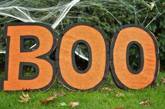 Boo Sign Orange Background Halloween Celebration Kids Party Fun stock image