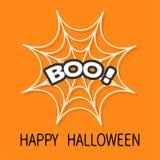 Boo Text Web rond d'araignée Blanc de toile d'araignée Élément de décoration Carte heureuse de Veille de la toussaint Conception  illustration de vecteur
