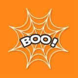 Boo Text Web rond d'araignée Blanc de toile d'araignée Élément de décoration Carte de voeux heureuse de Halloween Conception plat illustration de vecteur