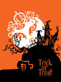 Boo Trick Or Treat kortdesign royaltyfri illustrationer