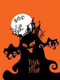 Boo Trick Or Treat kortdesign vektor illustrationer