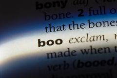Boo. Word in a dictionary.  concept stock images