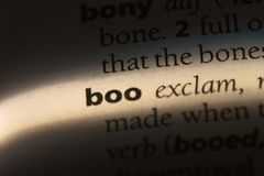 Boo. Word in a dictionary.  concept stock photos