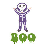 Boocard with a boy dressed like skeleton Stock Photo