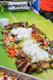 Boodle Fight, Philippine Culture. Boodle Fight, Philippine Cuisine Culture Stock Photo