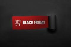 Boodschappenwagentje en Black Friday-tekst Stock Fotografie