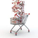 Boodschappenwagentje en giftboxes Stock Fotografie