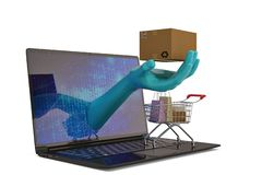 Boodschappenwagentje en laptop op witte achtergrond 3D Illustratie Stock Illustratie