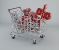 Boodschappenwagentje, kortingen, verkoop, supermarktbevorderingen Royalty-vrije Stock Foto
