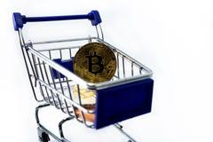 Boodschappenwagentje met bitcoin Stock Fotografie