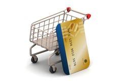 Boodschappenwagentje met creditcard Stock Afbeelding