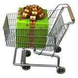 Boodschappenwagentje met de doos van de Gift Royalty-vrije Stock Fotografie