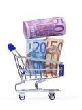 Boodschappenwagentje met euro bankbiljetten Royalty-vrije Stock Foto's