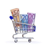 Boodschappenwagentje met euro bankbiljetten Stock Fotografie