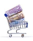 Boodschappenwagentje met euro bankbiljetten Royalty-vrije Stock Afbeelding