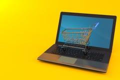 Boodschappenwagentje met laptop vector illustratie