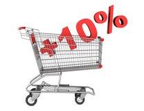 Boodschappenwagentje met plus 10 die percententeken op wit wordt geïsoleerd Royalty-vrije Stock Afbeelding
