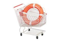 Boodschappenwagentje met reddingsboei, veilig het winkelen concept het 3d teruggeven royalty-vrije illustratie