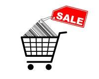 Boodschappenwagentje met verkoopetiket op streepjescode Royalty-vrije Stock Foto