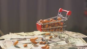 Boodschappenwagentje van de supermarkt die met amandelnoten wordt gevuld de daling van amandelnoten in de supermarktkar op de ach stock video