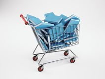 Boodschappenwagentjehoogtepunt van boeken het 3d teruggeven Stock Afbeeldingen