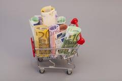 Boodschappenwagentjehoogtepunt van Euro bankbiljetten Stock Foto's