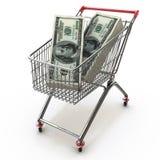 Boodschappenwagentjehoogtepunt van stapels dollarrekeningen Royalty-vrije Stock Afbeelding