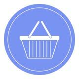 Boodschappenwagentjepictogram, het winkelen mand met handvattenontwerp, karretjepictogram Blauwe cirkelachtergrond Royalty-vrije Stock Afbeelding