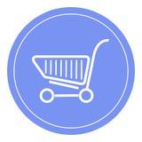 Boodschappenwagentjepictogram, het winkelen mandontwerp, karretjepictogram Blauwe cirkelachtergrond Royalty-vrije Stock Fotografie