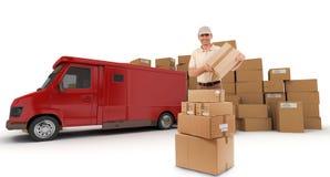 Boodschapper en rode bestelwagen stock afbeeldingen