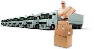 Boodschapper met vrachtwagens stock fotografie