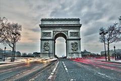 Boog DE triomphe in Parijs, Frankrijk Stock Foto's