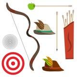 Boog met pijlen, een jagers` s hoed, een doel vector illustratie