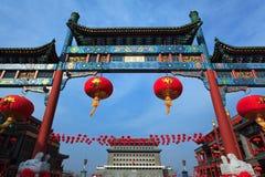 Boog in Qianmen Straat, Peking. China Royalty-vrije Stock Afbeeldingen