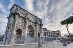 Boog van Constantine in Rome, Italië Royalty-vrije Stock Afbeeldingen