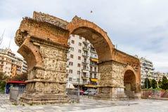 Boog van Galerius in Thessaloniki stock afbeelding