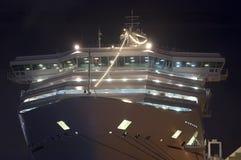 Boog van het Schip van de Cruise bij Nacht Royalty-vrije Stock Afbeelding