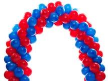 Boog van rode en blauwe ballons Royalty-vrije Stock Afbeeldingen