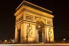 Boog van Triomf bij nacht, Parijs, Frankrijk Royalty-vrije Stock Fotografie