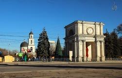 Boog van Triumph, 13 December, 2014, Chisinau, Moldavië Stock Afbeeldingen