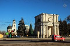 Boog van Triumph, 13 December, 2014, Chisinau, Moldavië Royalty-vrije Stock Afbeeldingen