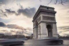 Boog van Triumph op Champs Elysees in Parijs, Frankrijk Royalty-vrije Stock Fotografie