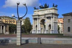 Boog van Vrede in Sempione Park, Milaan, Italië Royalty-vrije Stock Foto
