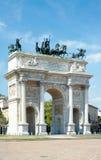 Boog van Vrede (XIX eeuw) in Sempione-Park, Milaan, Italië Stock Afbeeldingen